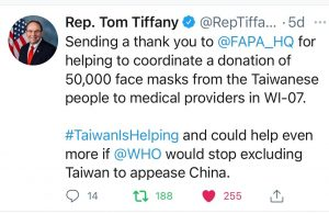 """FAPA Wraps up """"Face Shields/Masks from Taiwan"""" Donation Campaign – Calls for Full WHO Membership for Taiwan"""